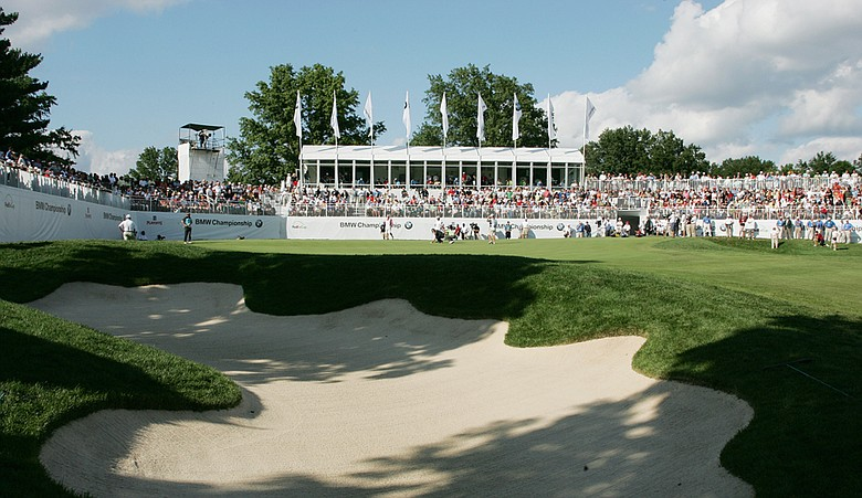 A view of the 18th green during the final round of the 2008 BMW Championship, held at Bellerive Country Club.
