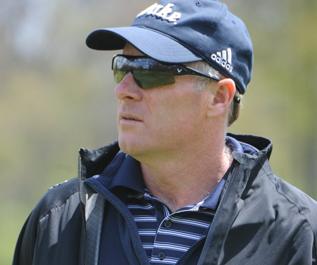 Duke women&#39;s golf coach Dan Brooks during Round 2 of the Central Regional.