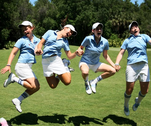 Allie White, Jackie Chang, Katherine Perry and Casey Grice, four the five University of North Carolina players, during the final round of the Women's NCAA East Regionals at LPGA International in Daytona Beach, Fla.