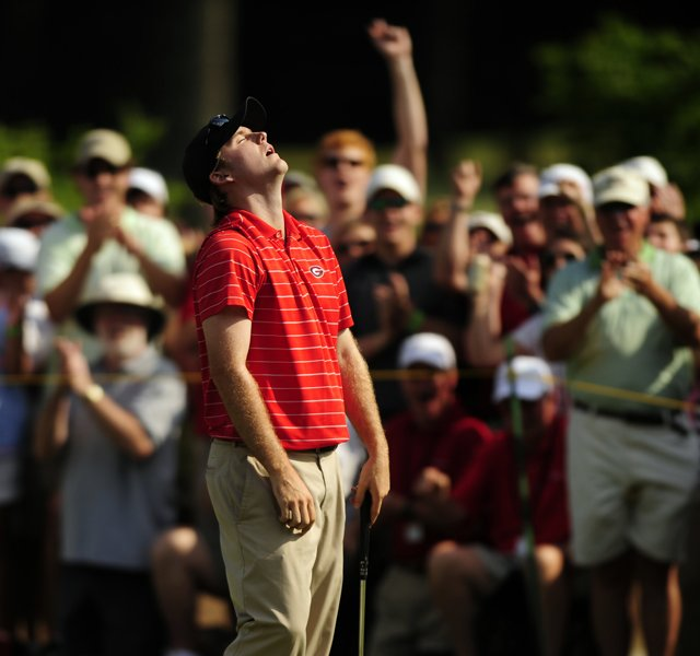 Russell Henley looks up in relief after sinking a putt on the 18th hole during the final round of the Nationwide Tour's Stadion Classic golf tournament on Sunday, May 8, 2011 in Athens, Ga.