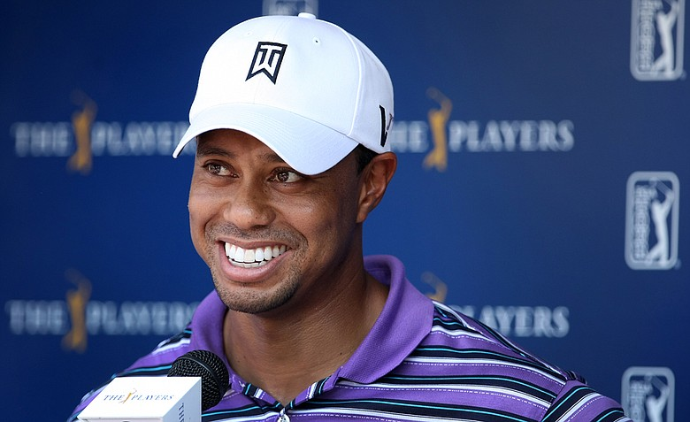 Tiger Woods speaks to the media after his practice round on Tuesday during The Players Championship at TPC Sawgrass.