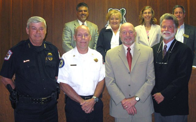 Maitland City Council and Mayor Howard Schieferdecker (right) with (from left) Police Chief Doug Ball, Fire Chief Ken Neuhard and Public Works Director Rick Lemke.