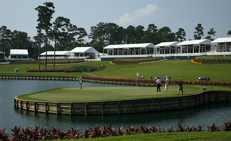 The par-3 17th hole at TPC Sawgrass