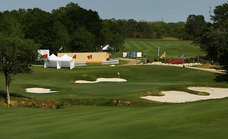 Hole No. 18 at Traditions Golf Club during the Women's Division I Golf Championships.