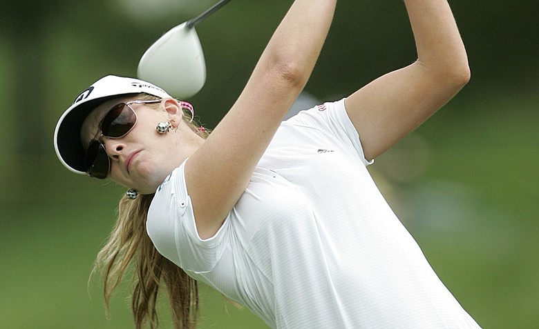 Paula Creamer hits her tee shot on the first hole during the first round of the Sybase Match Play Classic.