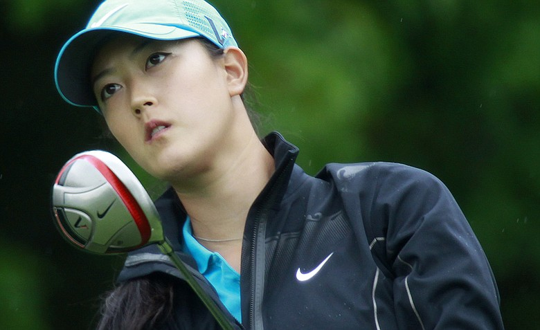Michelle Wie tees off on the sixth hole during a second-round match against Anna Nordqvist at the LPGA Sybase Match Play Championship.