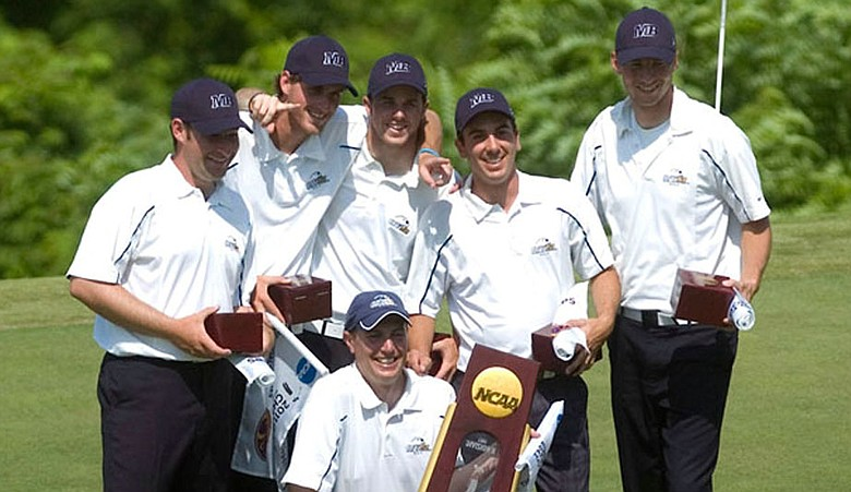 The Cal State-Monterey Bay men's golf team after winning its first national championship in program history.