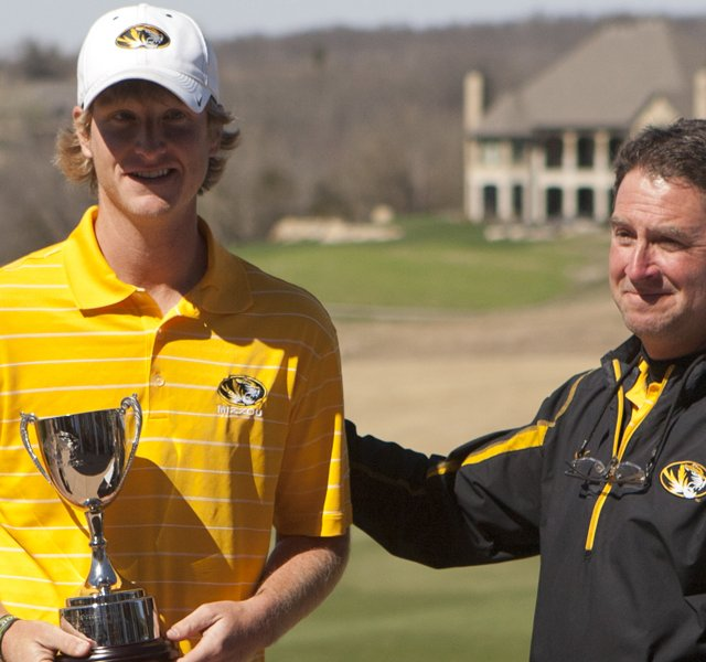 Missouri&#39;s Jace Long and coach Mark Leroux during the spring season