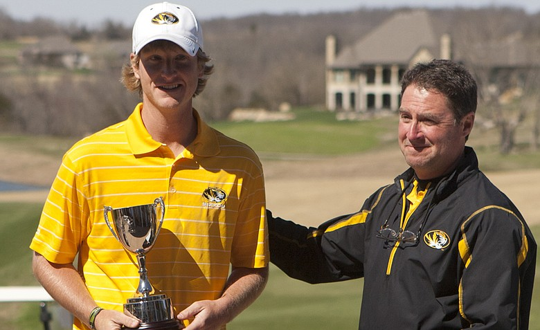 Missouri's Jace Long and coach Mark Leroux during the spring season