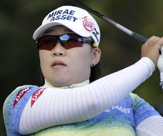 Jiyai Shin hits a shot during the ShopRite LPGA Classic.