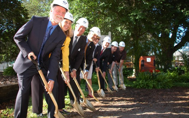 Maitland Mayor Howard Schieferdecker and Council members break ground for the city's new city hall on Friday, June 3.