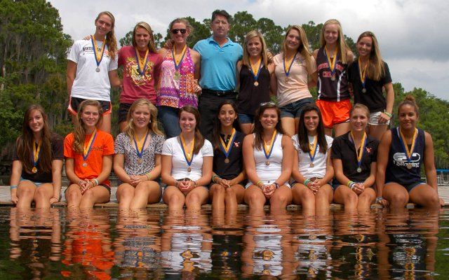 The 2010-2011 Winter Park High School girls' crew team, pictured with Coach Mike Vertullo, made history at the Stotesbury Cup.