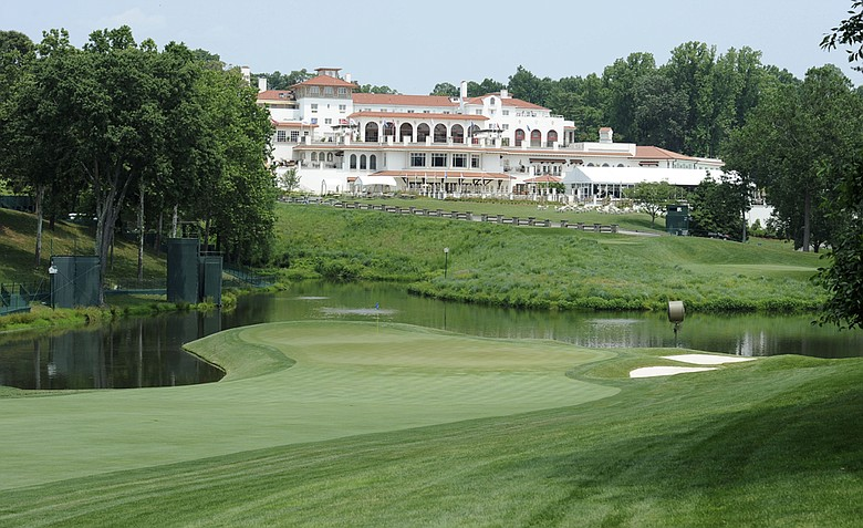 A view of the 18th green and the clubhouse at Congressional Country Club on Friday, June 10, 2011.