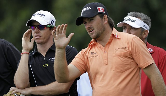 Rory McIlroy and Graeme McDowell during a practice round for the Cadillac Championship.
