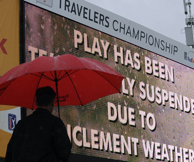 The first round of the Travelers Championship was suspended because of inclement weather.