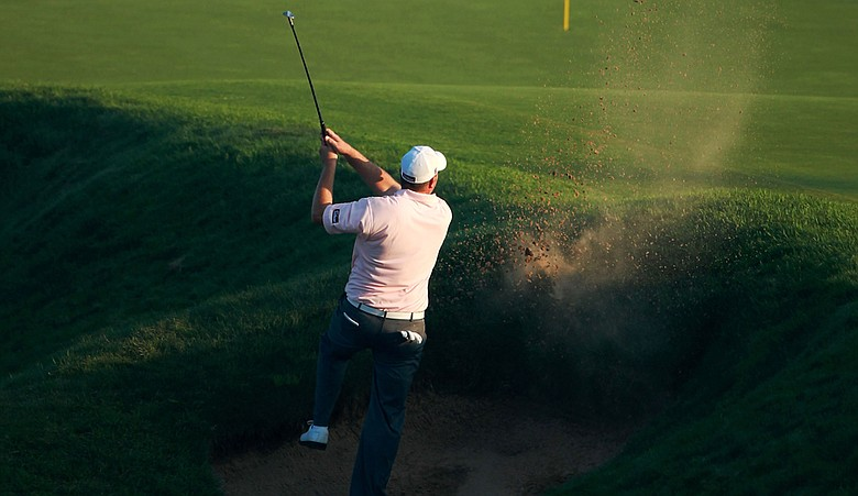David Hutsell plays from a bunker during the 2010 PGA Professional National Championship.