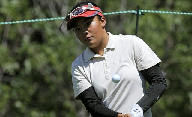 Mariel Galdiano during a practice round for the U.S. Women's Open.