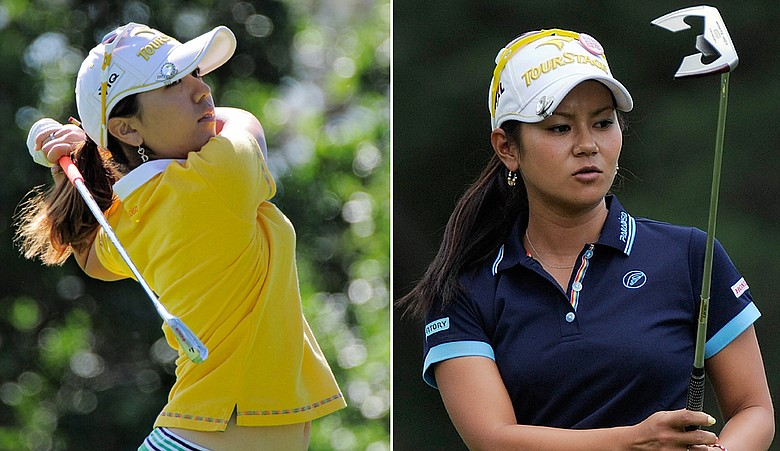 Mika Miyazato (left) and Ai Miyazato top the leaderboard at the U.S. Women's Open.