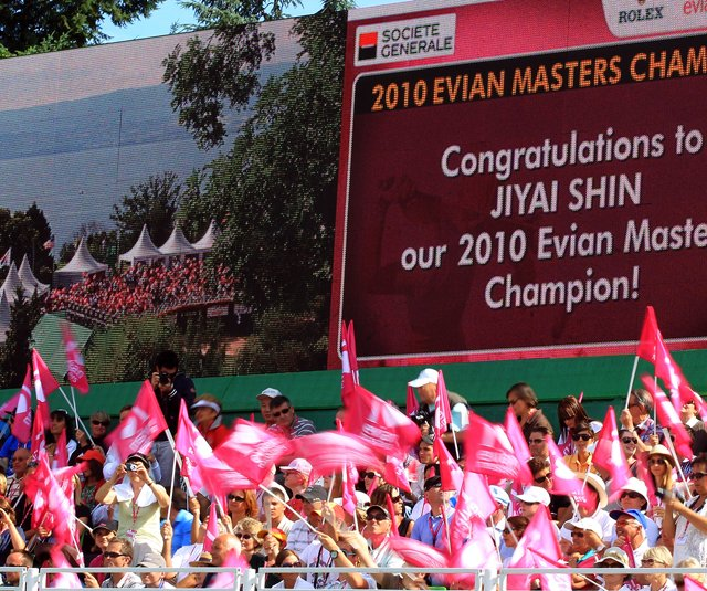 Jiyai Shin's name is on the scoreboard after she secured victory on the 18th green during the final round of the 2010 Evian Masters.