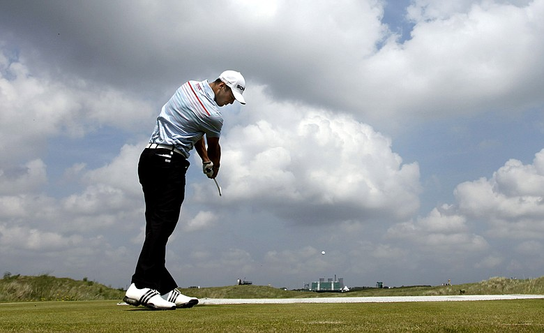 Martin Kaymer tees off on the 10th hole at Royal St. George's during a practice round for the British Open.
