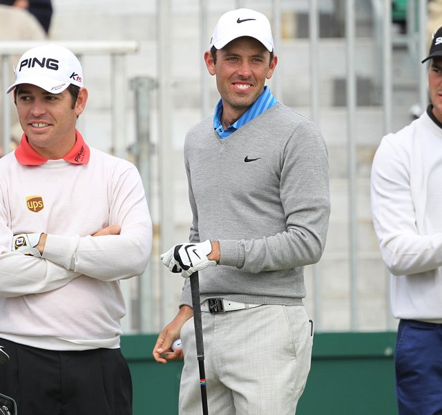 From left, Louis Oosthuizen, Charl Schwartzel and Martin Kaymer during a practice round Tuesday at the British Open.