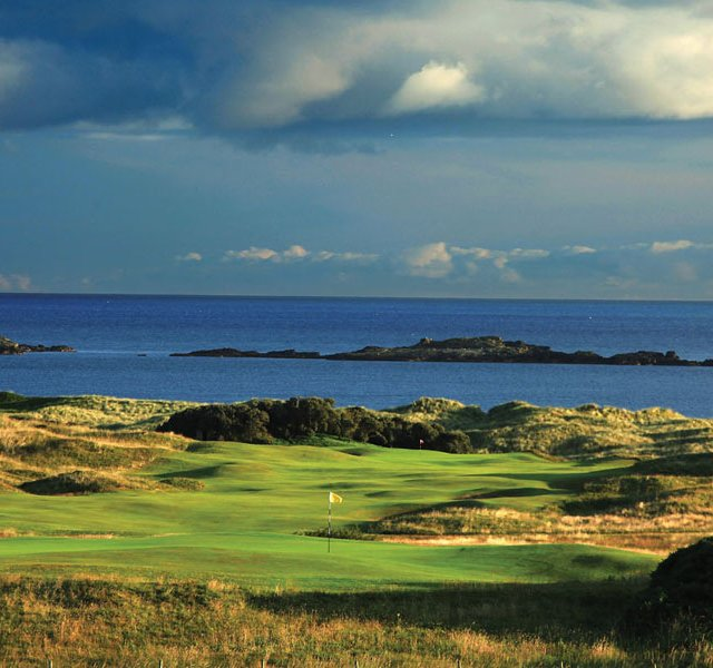 The par-3 third hole at Royal Portrush.