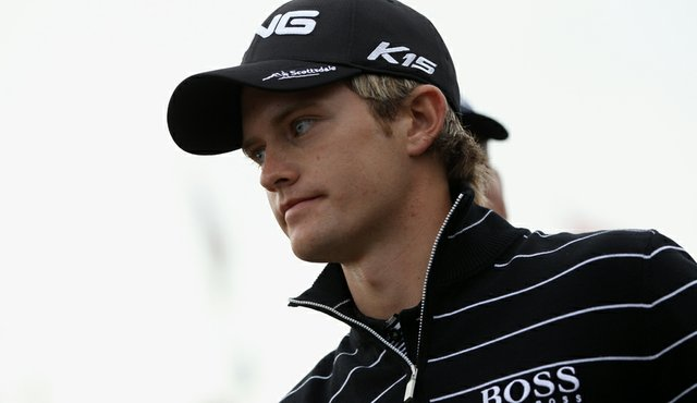 English golfer Tom Lewis is pictured on the first day of the 140th British Open.