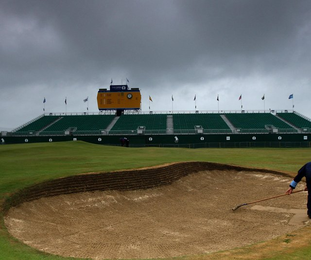 A storm cloud hangs over Royal St. George's as Round 3 of the British Open begins.