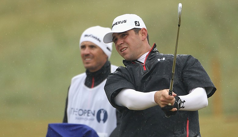 Gary Woodland plays a shot during Round 3 of the British Open.