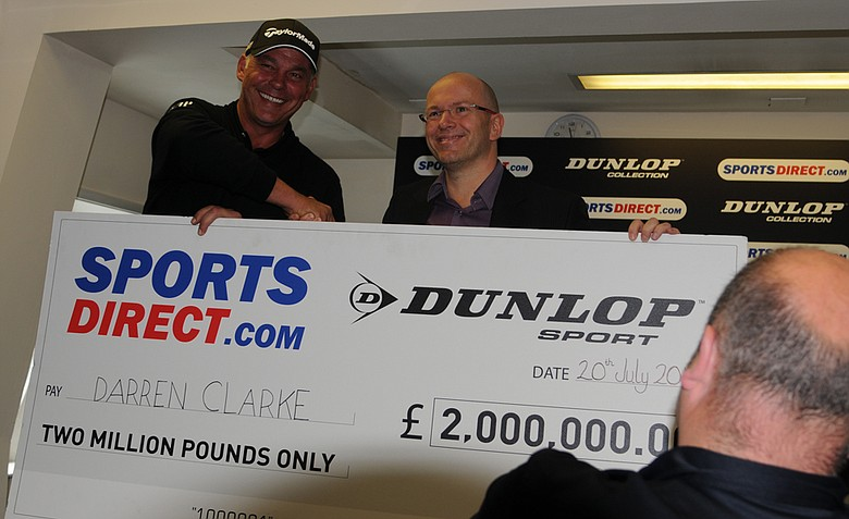 Darren Clarke receives 2 million pounds for his victory at the Open Championship.