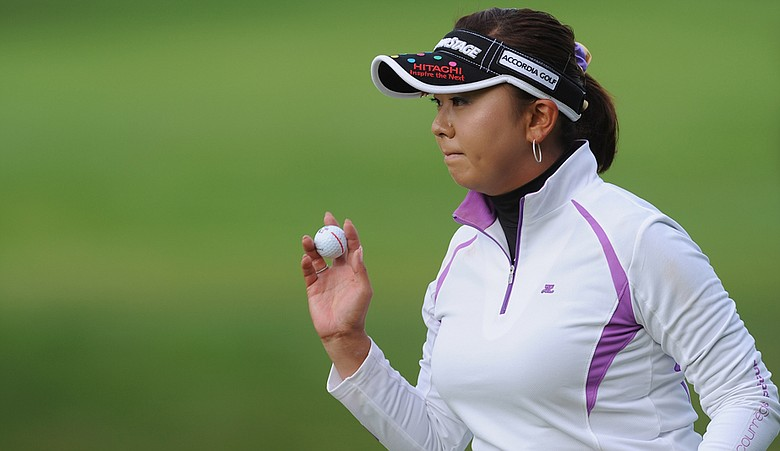 Miki Saiki in action during the second round of the Evian Masters at the Evian Masters Golf Club.