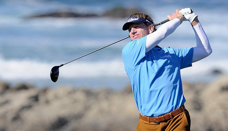 Brad Faxon plays a shot during the first round of the AT&T Pebble Beach National Pro-Am at Monterey Peninsula Country Club on February 10, 2011 in Pebble Beach, California.