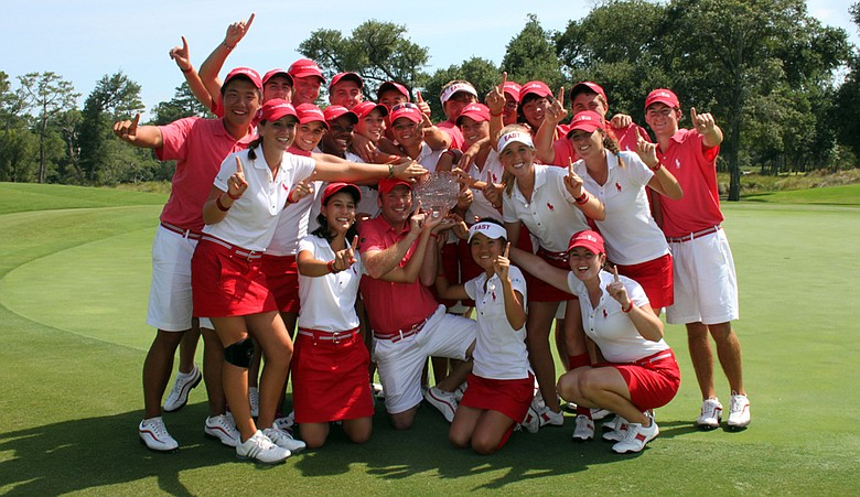 The East team celebrates after winning the Wyndham Cup July 28 at Eagle Point Golf Club in Wilmington, N.C.