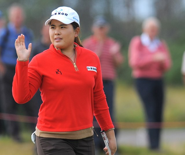 Inbee Park reacts after putting for a birdie on the 16th hole during the second round of the Women&#39;s British Open at Carnoustie.