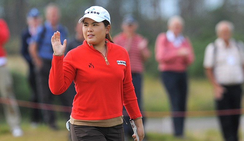 Inbee Park reacts after putting for a birdie on the 16th hole during the second round of the Women's British Open at Carnoustie.
