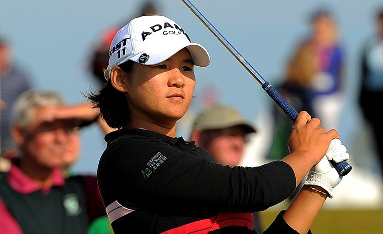 Taiwan's Yani Tseng plays her tee shot to the 17th during the third round of the Women's British Open at Carnoustie Golf Club, Scotland, on July 30, 2011.