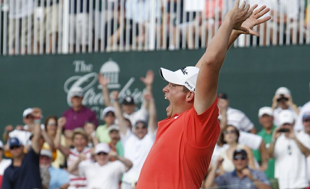 PGA Tour rookie Scott Stallings reacts to winning the Greenbrier Classic, sinking a birdie putt on the first playoff hole to beat Bob Estes and Bill Haas.