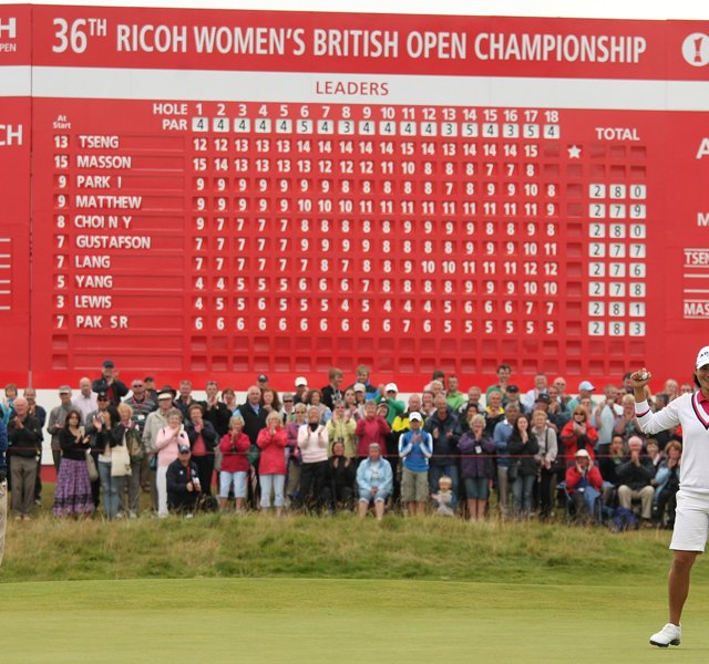 Yani Tseng of Taiwan celebrates victory on the 18th green during the final round of the 2011 Ricoh Women's British Open at Carnoustie Golf Links on July 31, 2011 in Carnoustie, Scotland.