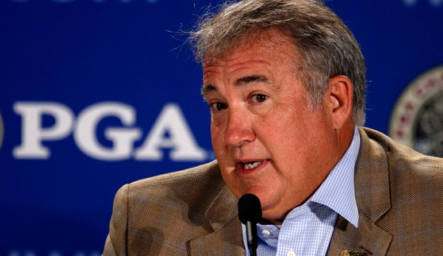 Joe Steranka, CEO of the PGA of America, is interviewed during a press conference prior to the start of the 92nd PGA Championship.