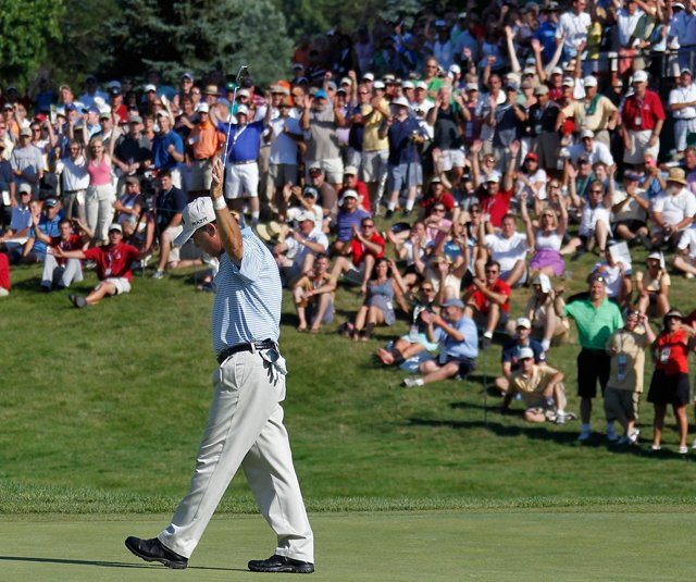 Olin Browne reacts after making his birdie putt on the 18th green and winning the 2011 U.S. Senior Open at the Inverness Club.