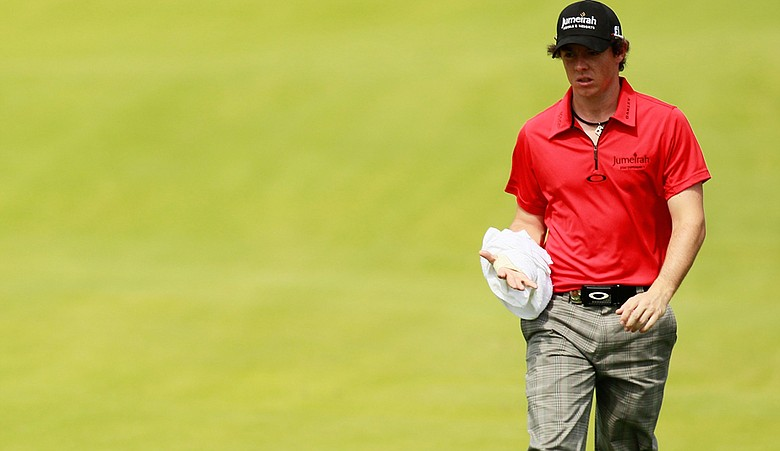 Rory McIlroy ices his wrist during the first round of the 93rd PGA Championship at the Atlanta Athletic Club.