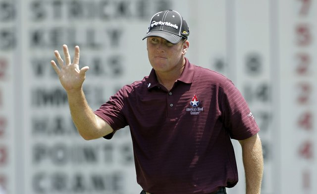 D.A. Points reacts after making a birdie on the 14th hole during the second round of the PGA Championship golf tournament Friday, Aug. 12, 2011, at the Atlanta Athletic Club in Johns Creek, Ga.