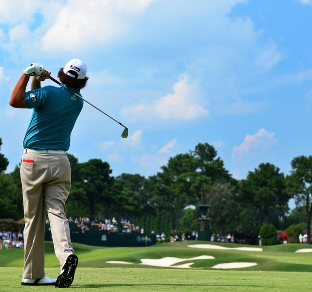 (EDITORS NOTE: A polarizing filter was used for this image.) Jason Dufner hits his tee shot on the seventh hole during the third round of the 93rd PGA Championship at the Atlanta Athletic Club on August 13, 2011 in Johns Creek, Georgia.