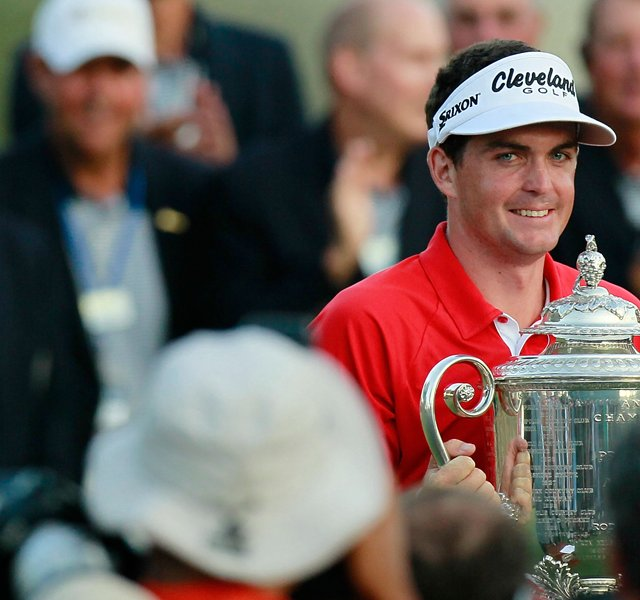 Keegan Bradley poses for photographers with the Wanamaker Trophy after winning a three-hole playoff over Jason Dufner during the final round of the 93rd PGA Championship at the Atlanta Athletic Club on August 14, 2011 in Johns Creek, Georgia.