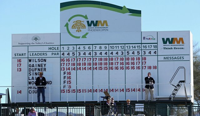 The leaders scoreboard during the final round of the Waste Management Phoenix Open at TPC Scottsdale.