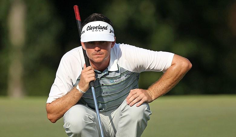 Keegan Bradley reads a putt during the PGA Championship.