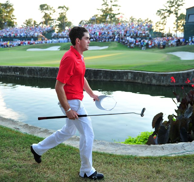 Keegan Bradley walks on the third playoff hole during the final round of the 93rd PGA Championship at the Atlanta Athletic Club on August 14, 2011 in Johns Creek, Georgia.