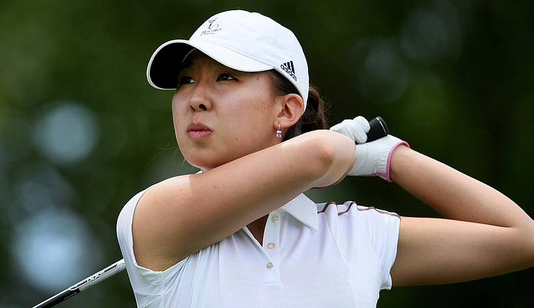 Nicole Zhang tees off at the U.S. Women's Amateur in Barrington, R.I.