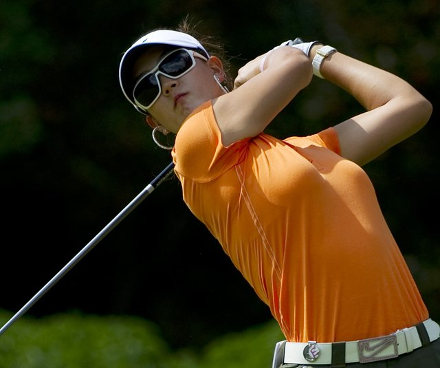 Michelle Wie hits a tee shot on the fifth hole during the third round of the CN Canadian Women's Open.