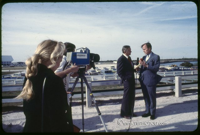 Anchor Ben Aycrigg, left, interviews Vice President George Bush at the Kennedy Space Center Press Site in 1981 for WDBO TV 6.